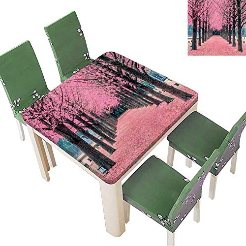 Printsonne Tablecloth Pink Tree,Nami Island in Korea Table Top Cover 52 x 52 Inch (Elastic -