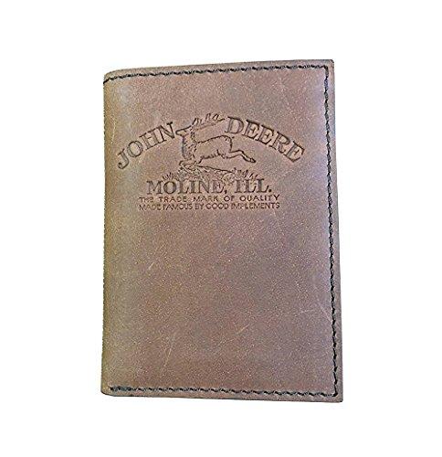 John Deere Men's Vintage Distressed Leather Tri-Fold Wallet Brown One Size