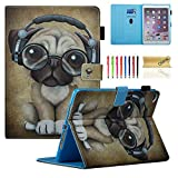 Dteck iPad 9.7 2018 2017 iPad Air 2 iPad Air Case - Multi-Angle Viewing Folio Stand Smart Shell Protective Cover with Auto Sleep Wake for Apple iPad 6th 5th Gen - iPad Air 1 2 - Music Dog