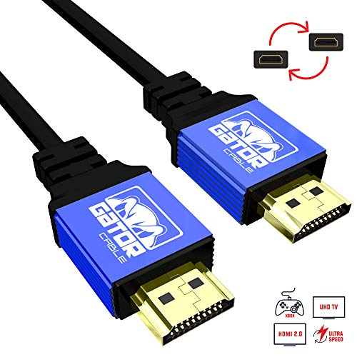 Ultra Speed HDMI UHD V2.0 Cable - 3D, HD 4K HDMI Cable, HDCP V2.1, 24K Gold-Plated Connectors (10 FT, Blue) A/v Gold Plated Hdmi Cable