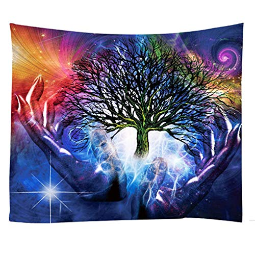 Xch Tree of Life Tie Dye Psychedelic Wall Tapestry Wall Hanging Elephant
