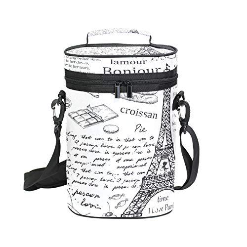 2 Bottle Wine Tote Eifel Tower English Alphabet Wine Travel Cooler Bag with Handle and Adjustable Shoulder Strap