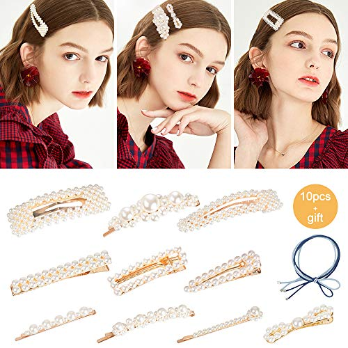 Pearl Hair Clips Pins for Women Girls - 10 pcs Fashion Decorative Hair Accessories Large Bows/Clips/Ties for Birthday Valentines Day Mother's Day Gifts and Party Wedding (Best Clips For Pcs)