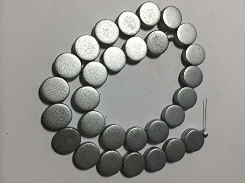 Silver Silk Metallic Wood Coin Disk Beads for Jewelry Making, Supply for DIY Beading Projects 15mm 16