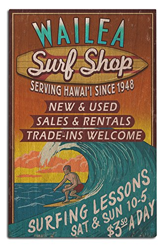 Wailea, Hawaii - Surf Shop Vintage Sign (12x18 Wood Wall Sign, Wall Decor Ready to - Shops Wailea The Of