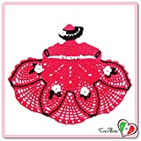 (US) Hot Pink crochet crinoline lady doily in cotton - Size: 10.5 inch x 8.6 inch H - Handmade - ITALY
