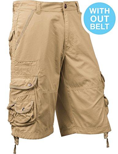 Double Cargo Pocket Short - SM Mens Premium Cargo Shorts Without Belt (40, sm01_Khaki)