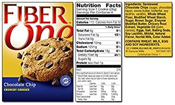 General Mills, Fiber One, Cookies, 6 Count (0.92oz Each), 5.52oz Box (Pack of 3) (Choose Flavors Below) (Chocolate Chip Crunchy Cookies)