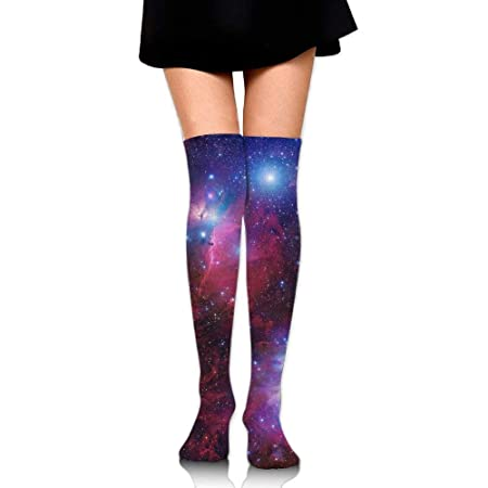 Women Crew Socksc Thigh High Over Knee Space Galaxy Star Nebula Long Tube Dress Legging Sport Compression Soccer Stocking