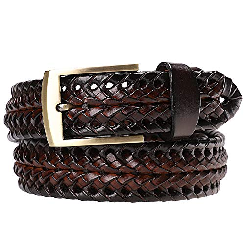 Earnda Men's Braided Belt Leather Woven Genuine Leather Belt For Men With Pin Buckle Brown 35mm ()