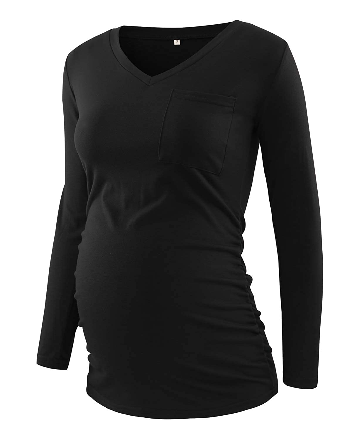 BBHoping Womens Casual Maternity Tops Long Sleeve V Neck Colorblock Pregnancy T-Shirt with Pocket