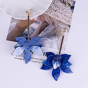 Chytaii Pendiente Mujer Largo Pendiente Largo con Flecos Viento Nacional Accesorio Dama Forma de Flor de Acr/ílico Personalidad 9.7cm