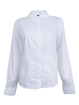 e8027ca86 Tommy Hilfiger Womens Woven Non-Iron Button-Down Top White 12 at Amazon Women's  Clothing store: