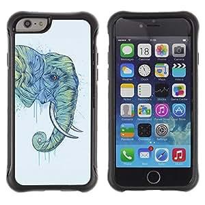 "Pulsar iFace Series Tpu silicona Carcasa Funda Case para Apple (4.7 inches!!!) iPhone 6 , Trompa de Elefante Pintura Arte de Animales Salvajes"""