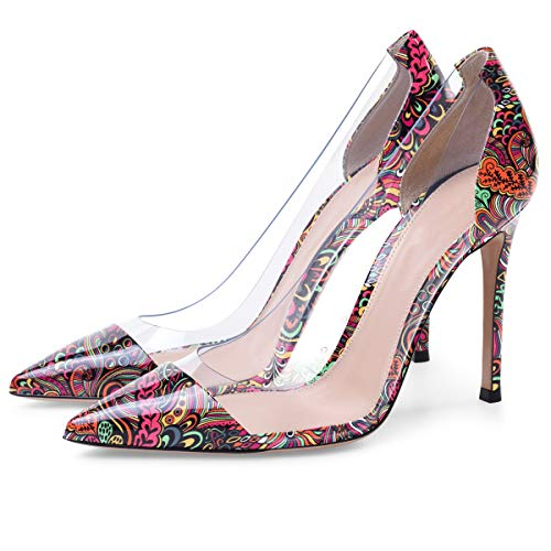 High Pointed 10cm Cap Heel Shoes Wedding Womens Transparent Red Dress PVC PVC pattern Event Stilettos Toe Pumps Eldof Pumps 5xwXYRqnxH