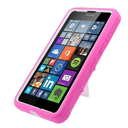 Cell-Accessories-For-Less-TM-Microsoft-Lumia-640-T-mobileMetropcs-Rugged-Case-White-Hot-Pink-774-With-Stand-Bundle-Stylus-Micro-Cleaning-Cloth-By-TheTargetBuys