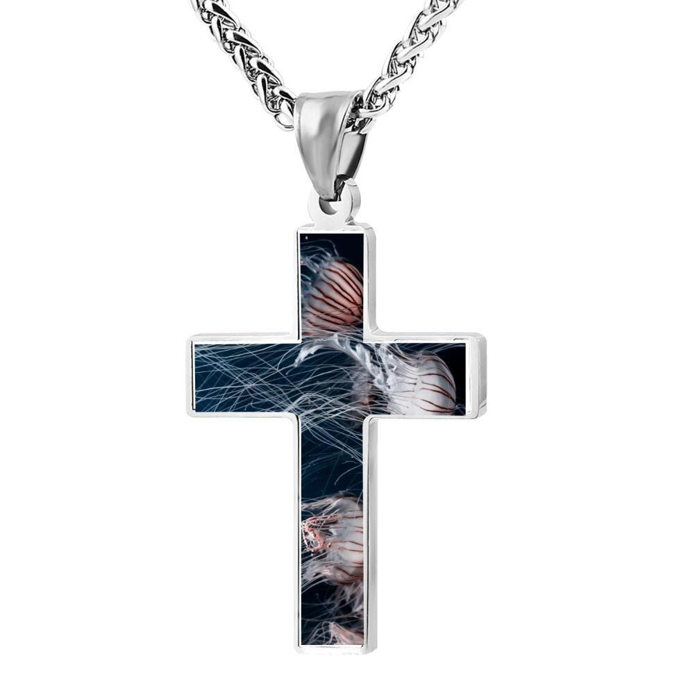 Kenlove87 Patriotic Cross Jellyfish Religious Lord'S Zinc Jewelry Pendant Necklace
