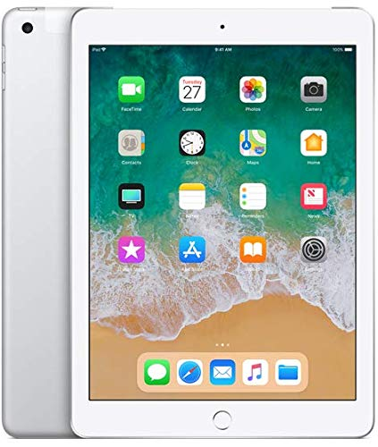 Apple iPad 9.7in 6th Generation WiFi + Cellular (128GB, Silver) (Renewed)