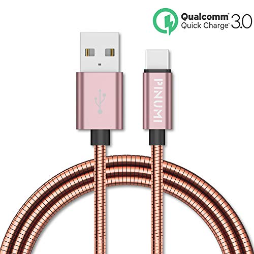 PINUMI Metal Braided USB C Cable,Safe Charging Cords USB Charger- Fast Charging Data Sync Cable Compatible with Samsung Galaxy S9 S9Plus S8 Note 8, LG 3.3 Feet (USB c-Rose Gold)
