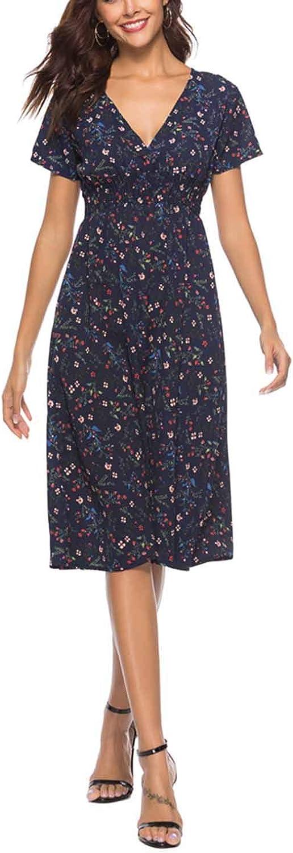 Furpazven Womens Dress Polka Dot V Neck Flower Short Sleeve Floral Print Casual Beach Dresses Knee Long Plus Size
