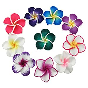 "Beautiful Colorful Mini Diameter 1.4"" Artificial Frangipani Plumeria Hawaiian Flower 50 Pieces For Wedding Party Home Office Decoration Handwork Mother's Day Gift (Assorted Color) 34"