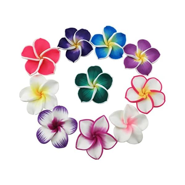 Beautiful Colorful Mini Diameter 1.4″ Artificial Frangipani Plumeria Hawaiian Flower 50 Pieces for Wedding Party Home Office Decoration Handwork (Assorted Color)