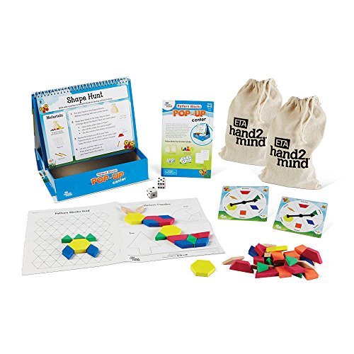 (hand2mind Math Games With Pattern Blocks, 10 Critical Thinking Activities for Kids  | Educational Games | Classroom Center | Teacher Gift | Ages)