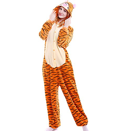 Coolpay Unisex Adult Cute One-Piece Pajamas Cosplay Bath-Towel Costume Sleepwear Perfect Halloween for Women (M, Tiger)