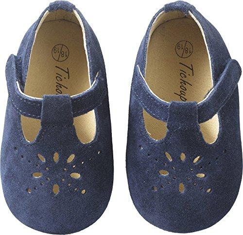 Tichoups chaussures bébé cuir souple salomé marine