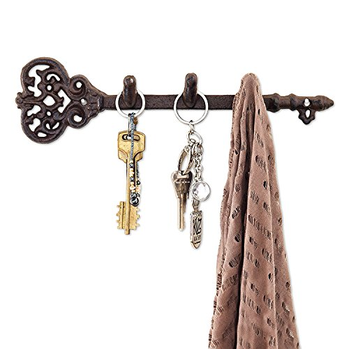 """Comfify Decorative Wall Mounted Key Holder - Vintage Key with 3 Hooks - Wall Mounted - Rustic Cast Iron - 11.6 x 3""""- with Screws and Anchors (Rust Brown)"""