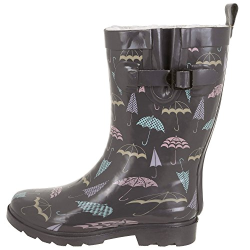 Ladies New Grey Combo Rain Capelli Mid Calf Boots Printed York Collegiate Plaid qRqfSECW