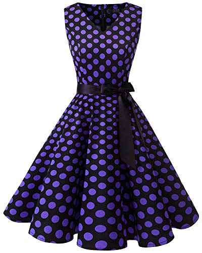 Bridesmay Women's V-Neck Audrey Hepburn 50s Vintage Elegant Floral Rockabilly Swing Cocktail Party Dress Black Purple Dot XL