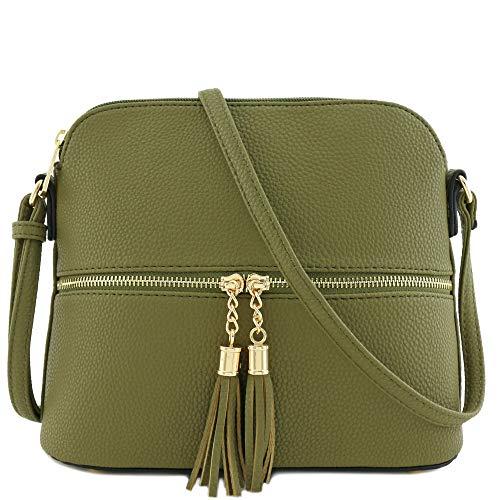 Tassel Zipper Pocket Dome Crossbody Bag (Olive)