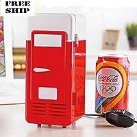 Mini Usb Led Pc Refrigerator Fridge Beverage Drink Cola Cans Cooler Warmer Red