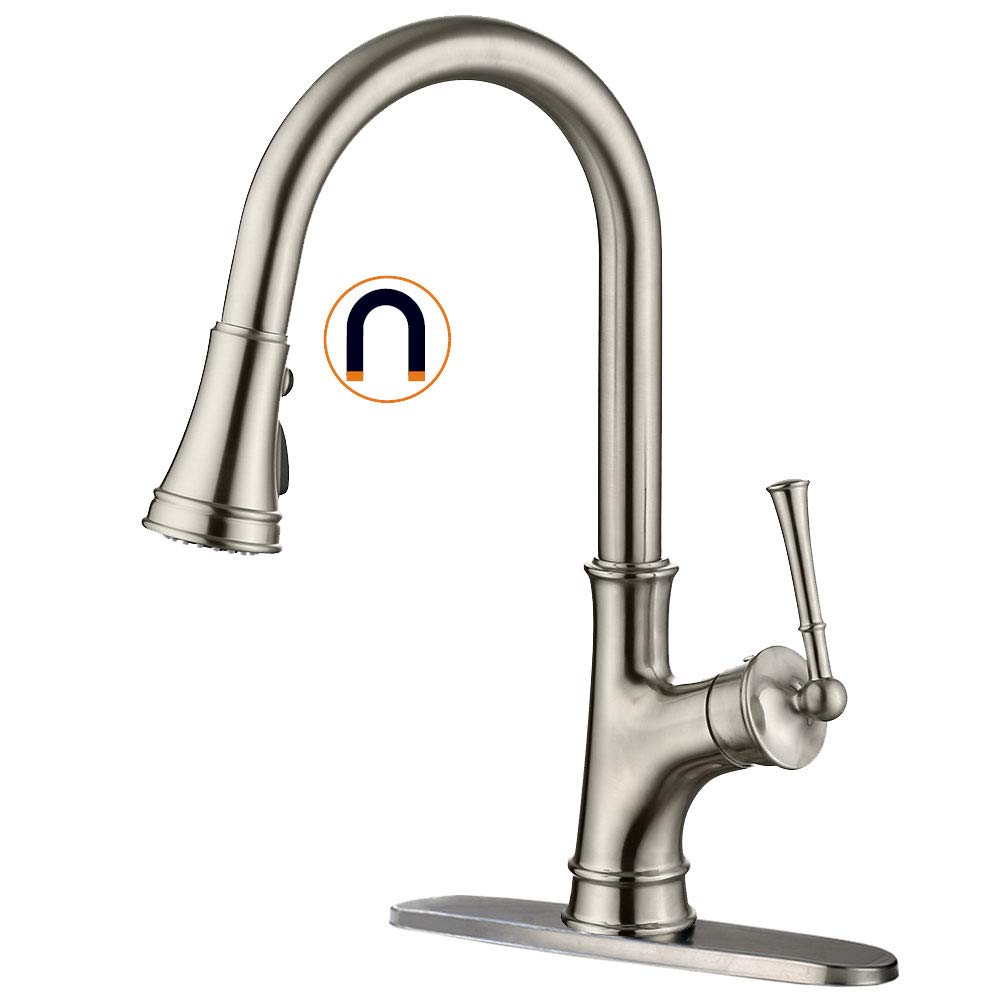 APPASO Single-Handle Magnetic Docking Kitchen Faucet with Pull Down Sprayer, Stainless Steel Brushed Nickel High Arc Pull Out Spray Head Kitchen Sink Faucet with Deck Plate, K133-BN