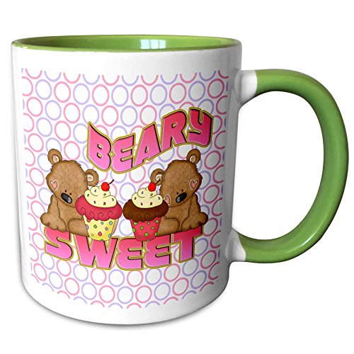 3dRose Dooni Designs Cute Bears - Beary Sweet Cute Bears WIth Yummy Cupcakes With Circles Background - 15oz Two-Tone Green Mug -