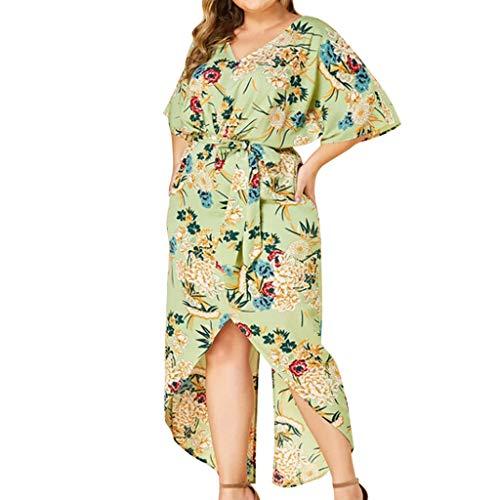 Women's Summer Casual Loose Long Dress Floral Bandage O-Neck Short Sleeve Maxi Dresses Plus Size,XL-5XL Green