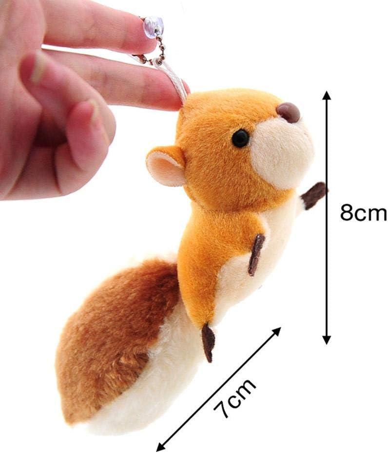Peque/ña ardilla mu/ñeca de peluche juguetes de metal relleno llavero colgante forma de cola decoraci/ón para el coche de casa