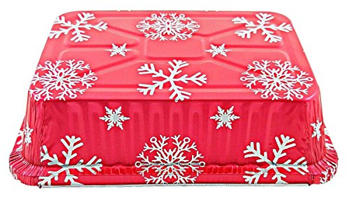 Durable Packaging 2 1/4 lb. Oblong Holiday X-Mas Foil Pan w/Clear Dome Lid - Red Aluminum (pack of 100) by Durable Packaging (Image #4)