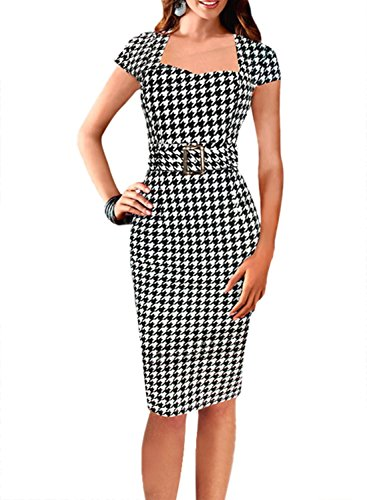 davikey-womens-vintage-belted-tartan-check-tunic-cocktail-party-bodycon-pencil-dress-blacklarge