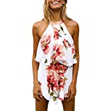 CHNS Women Off Shoulder Shirts High Waist Shorts Floral Print Culotte Beachwear