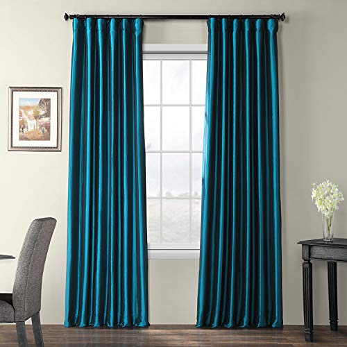 Half Price Drapes PTCH-BO003-120 Blackout Faux Silk Taffeta Curtain, Meditteranean