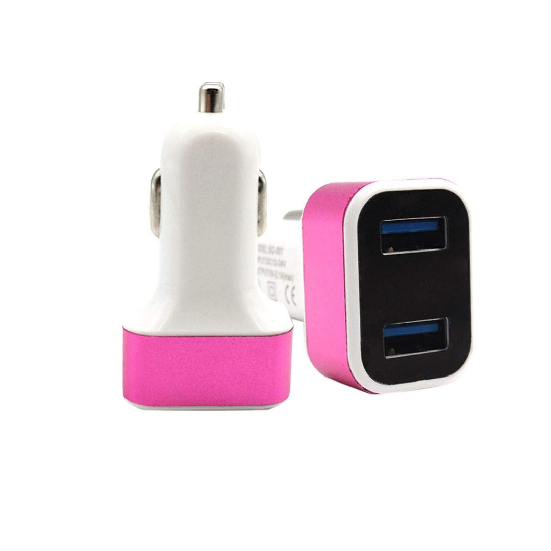 certainPL Car Charger Adapter, 2.1A Dual USB Ports Charger for iPhone X 8 7 6S 6 Plus, 5 SE 5S 5C, Galaxy S9 S8 S7 S6 Edge, Note 8 4, LG G6 G5, HTC,Nexus 5 X 6P,Pixel,iPad Pro Portable (Pink)