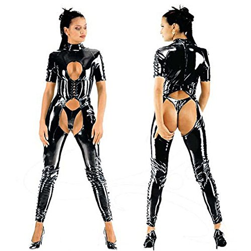 ThinkMax Women Sexy Bodysuit Open Breast Hips Leather Catsuit Club Wear Hollow out Crotchless Jumpsuit with T-back Straps Front Body (Patent Troll Costume)