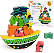RRIBOUDWAN Wooden Dinosaur Animal Stacking Games Equilibrium Game Balancing Blocks Games for Kids Age 3 4 6 8
