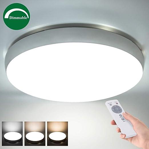 Plafón LED Con Control Remoto, Regulable, Color: Blanco Cálido, Frío y natural, Lampara de techo con Función de luz Nocturna, Función de Tiempo, 3600 ...