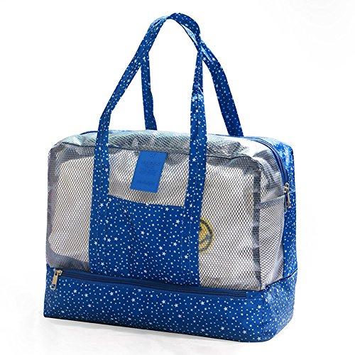 Fletion Multifunción bolsa de la compra impermeable bolso de viaje de playa, bolsa de natación plegable para camping playa viajes elegante,Pentagram azul oscuro Azul Oscuroazul Oscuro