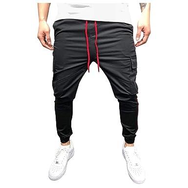 GKOKOD - Pantalones de chándal para Hombre, diseño de Rayas Negro ...