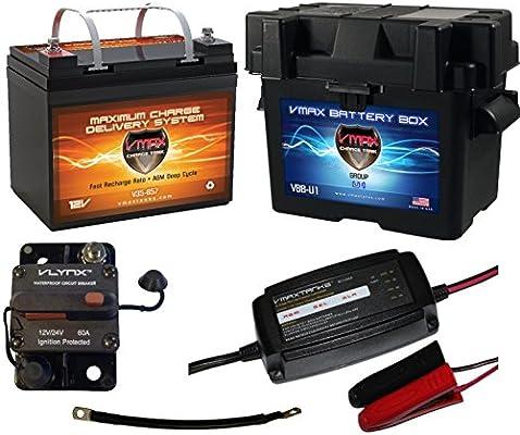 boat battery kit: vmax 12v 35ah agm battery + vmax marine battery box +  waterproof