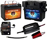 "Boat Battery Kit: VMAX 12V 35ah AGM Battery + VMAX Marine Battery Box + Waterproof Circuit Breaker + 12V 4-Stage Smart Charger + 9"" 100% Copper Cable. AGM Battery Kit for 18-35lb trolling motors."